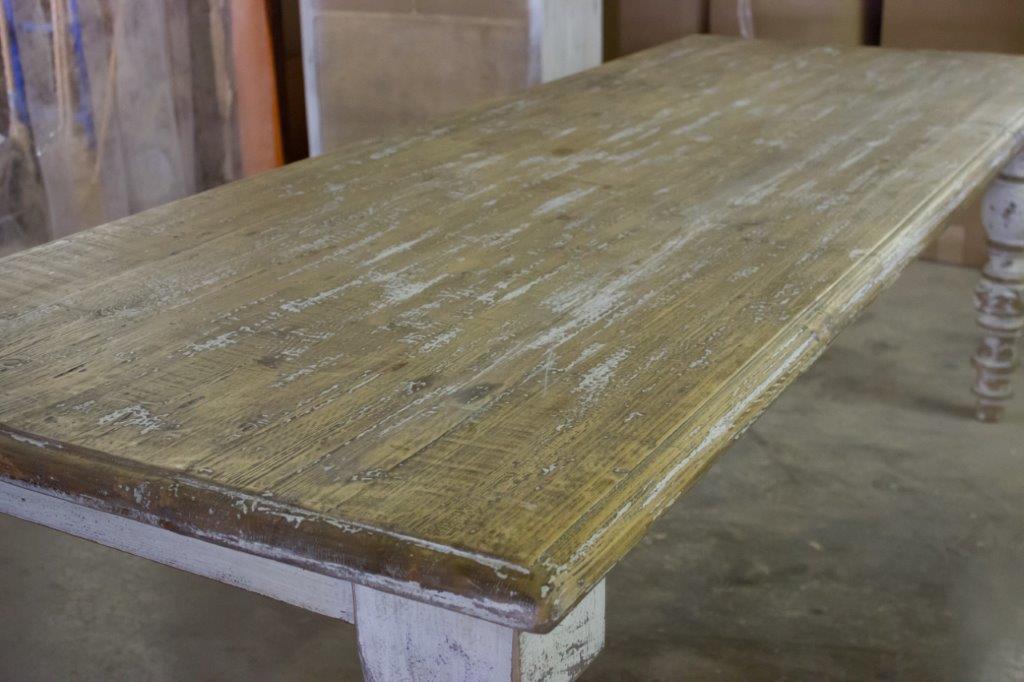 Antique Elmwood Table On Turned Leg