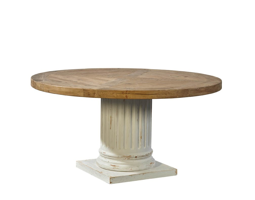 Fluted column round pedestal table adams furniture for Fluted pedestal base